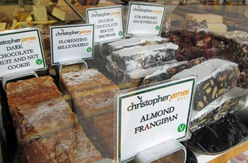 The window display in Christopher James Deli is guaranteed to tempt sweet-toothed passers-by