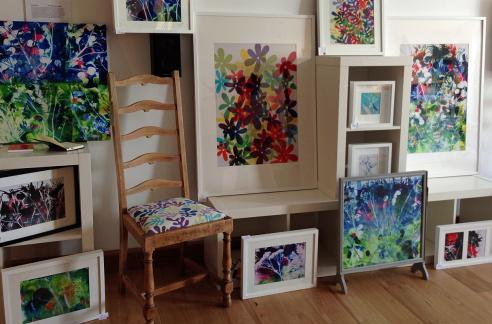 Textile artist, Sue Oldman's colourful work, exhibited in Houlditch Road