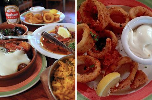 Some of the dishes available to hungry diners, including the delicious and garlicky Calamares Fritos