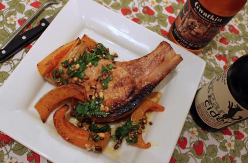 Honey and mustard glazed pork chops with butternut squash