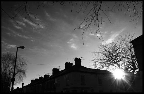 Sunset over rooftops, Clarendon Park, Leicester