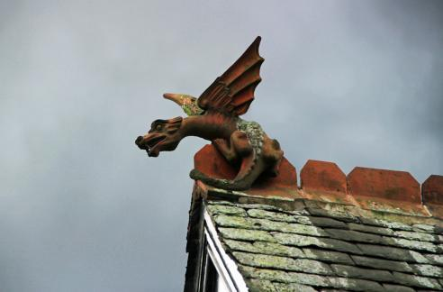 Keeping watch: the wyvern atop the gable of 19 East Avenue