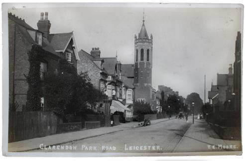 A postcard of Clarendon Park Road in Leicester, posted in 1910
